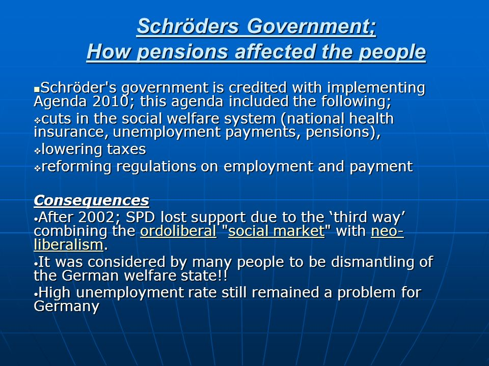 Schröders Government; How pensions affected the people