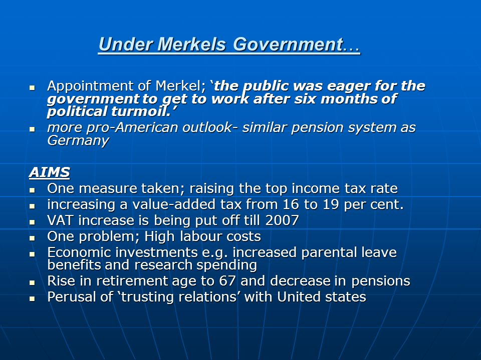 Under Merkels Government…