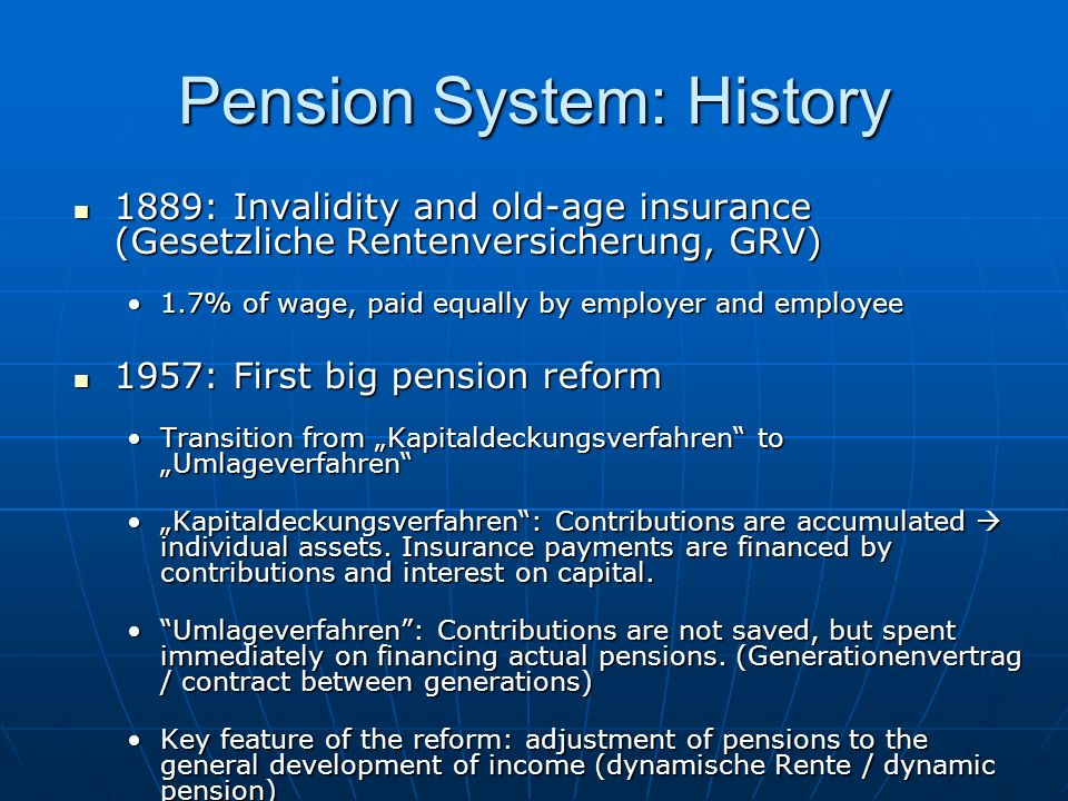 Pension System: History