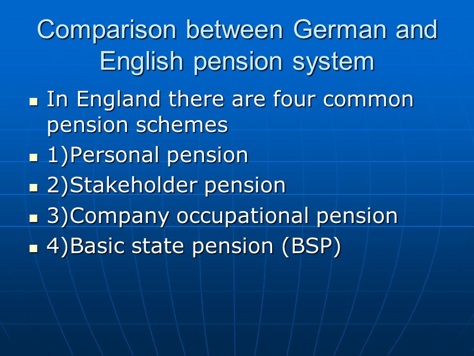 Comparison between German and English pension system
