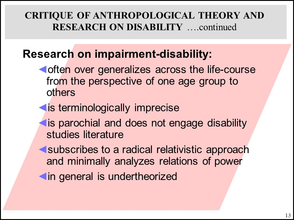 Research on impairment-disability: