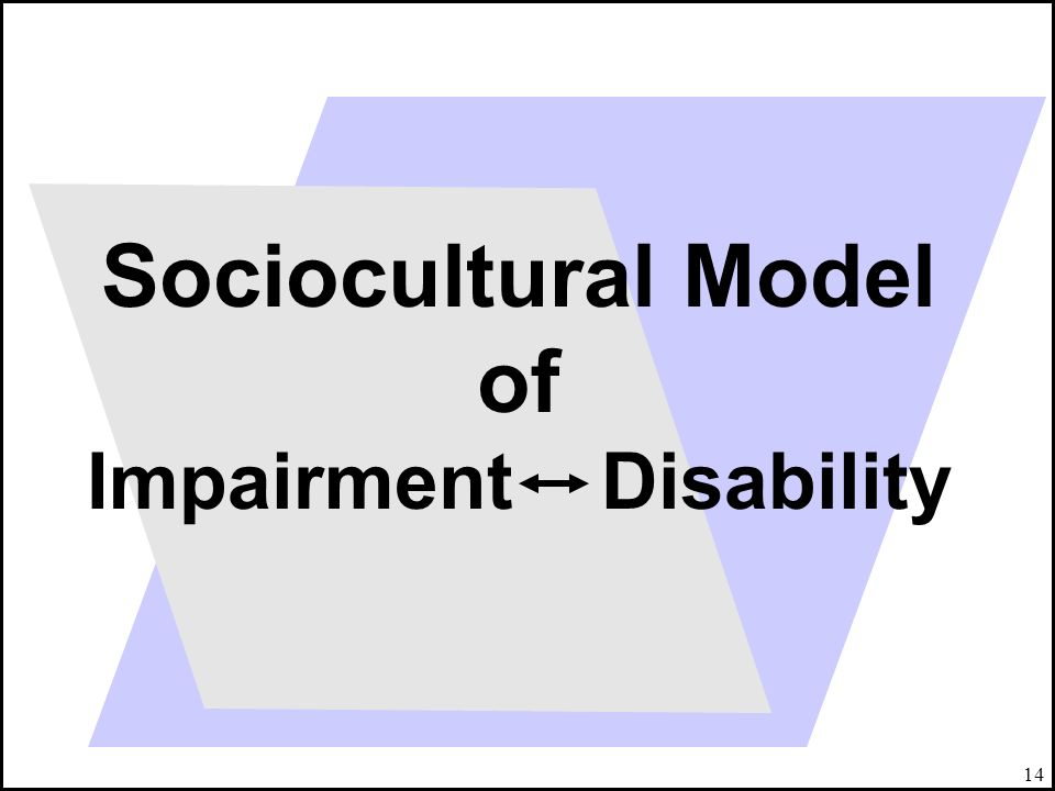 Sociocultural Model of Impairment Disability