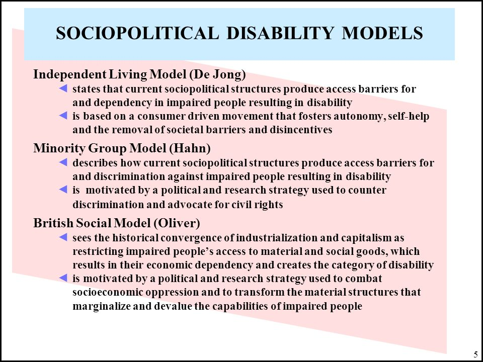 SOCIOPOLITICAL DISABILITY MODELS