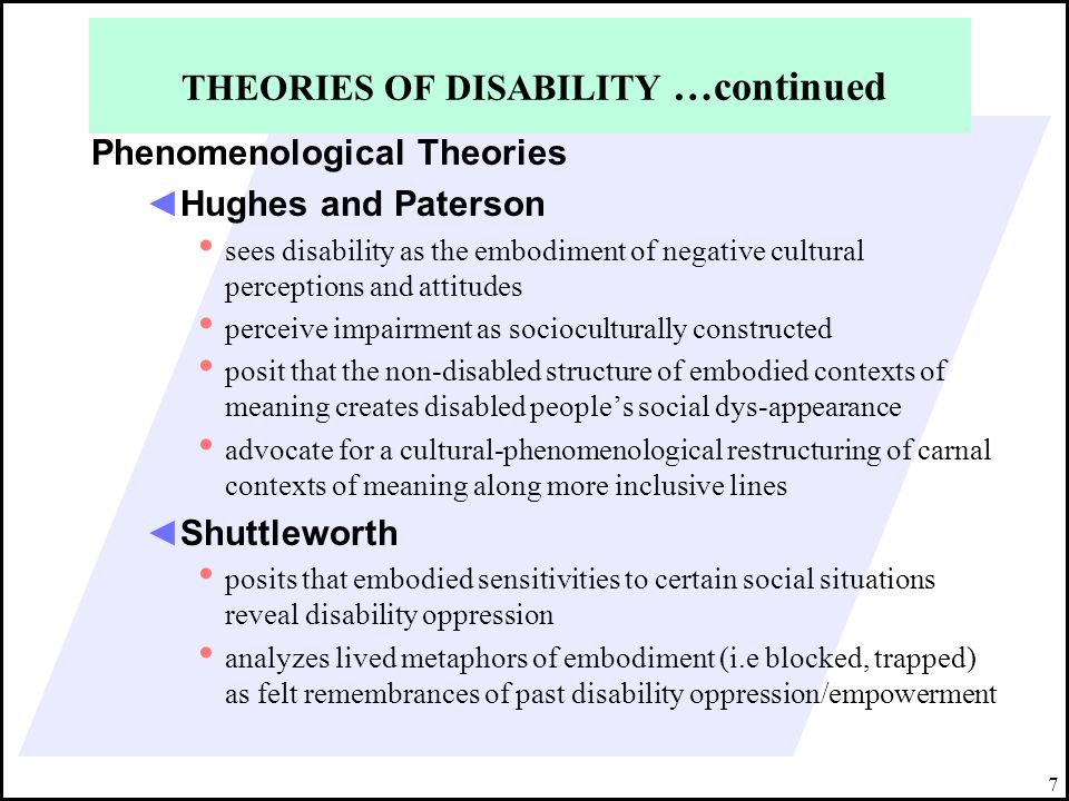 THEORIES OF DISABILITY …continued