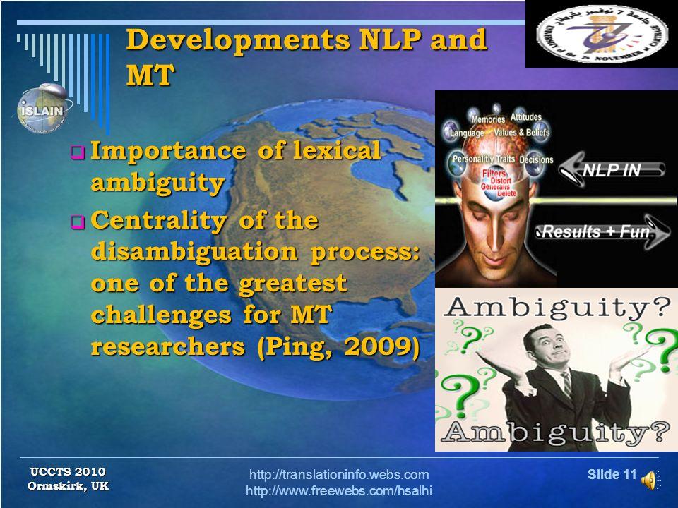Developments NLP and MT