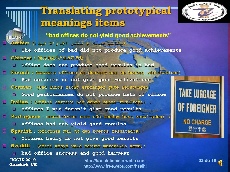 Translating prototypical meanings items