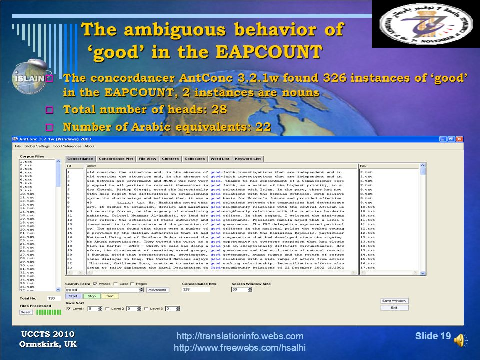 The ambiguous behavior of 'good' in the EAPCOUNT