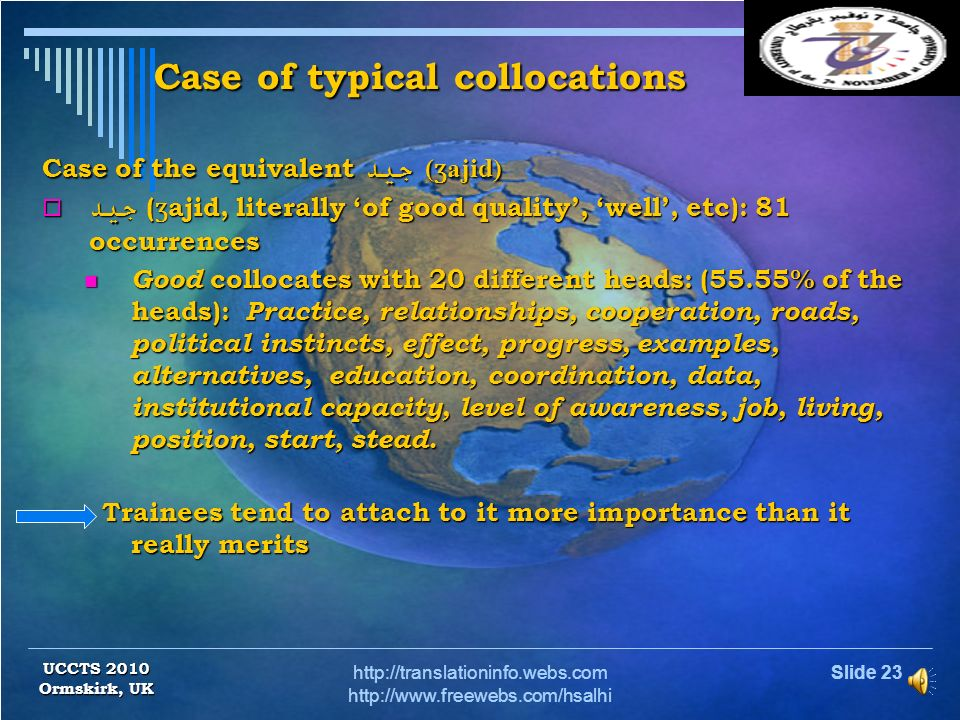 Case of typical collocations