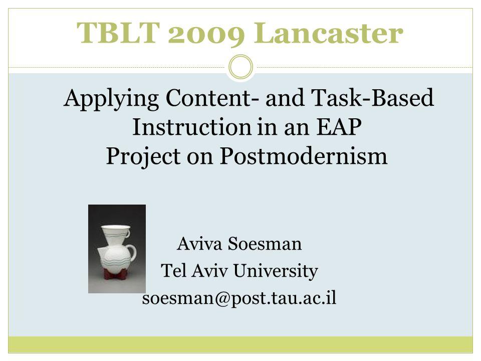TBLT 2009 Lancaster Aviva Soesman Tel Aviv University