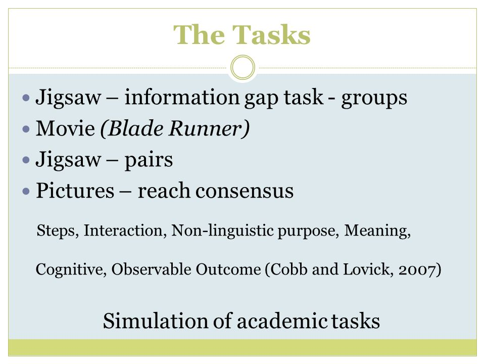 Simulation of academic tasks