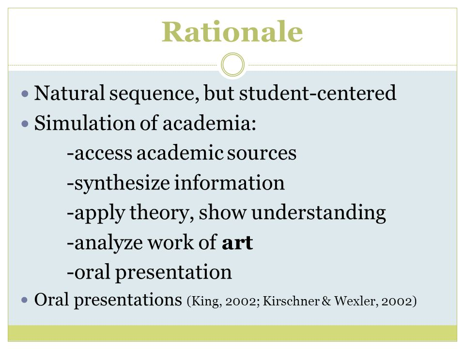 Rationale Natural sequence, but student-centered