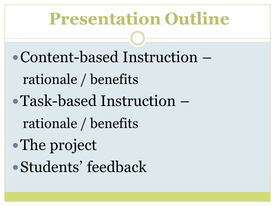 Content-based Instruction – rationale / benefits