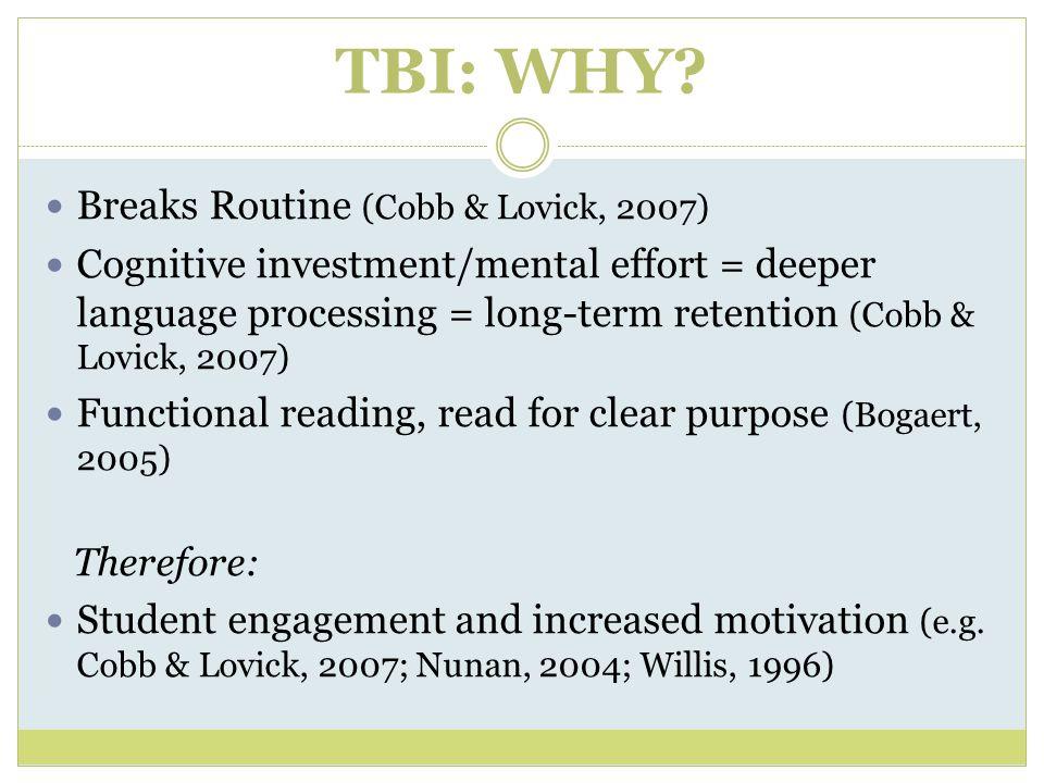 TBI: WHY Breaks Routine (Cobb & Lovick, 2007)