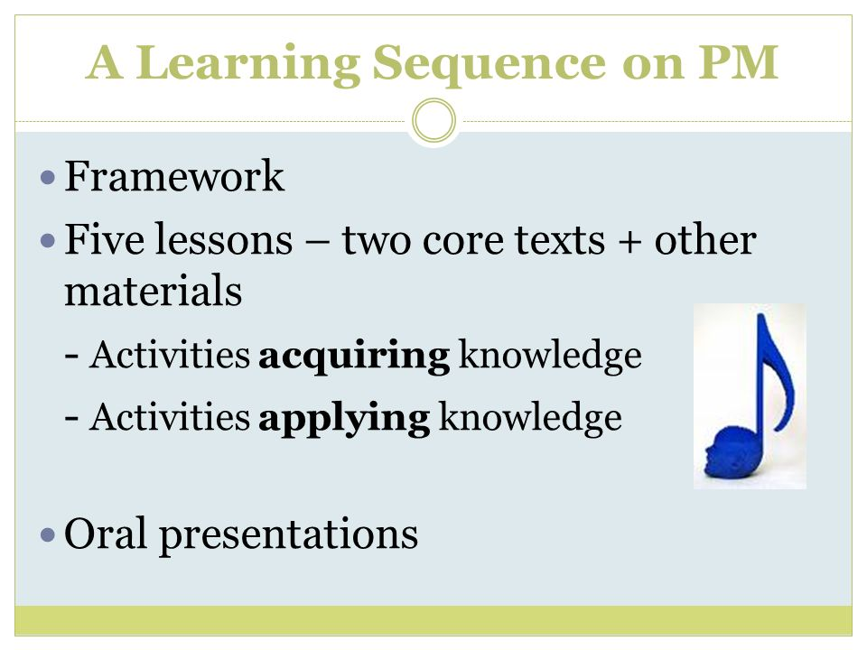 A Learning Sequence on PM