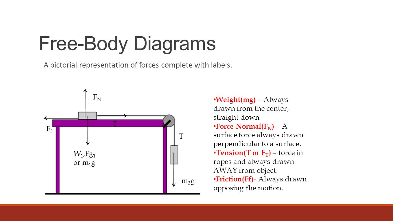 Free-Body Diagrams A pictorial representation of forces complete with labels. FN. Weight(mg) – Always drawn from the center, straight down.