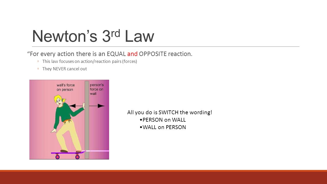 Newton's 3rd Law For every action there is an EQUAL and OPPOSITE reaction. This law focuses on action/reaction pairs (forces)