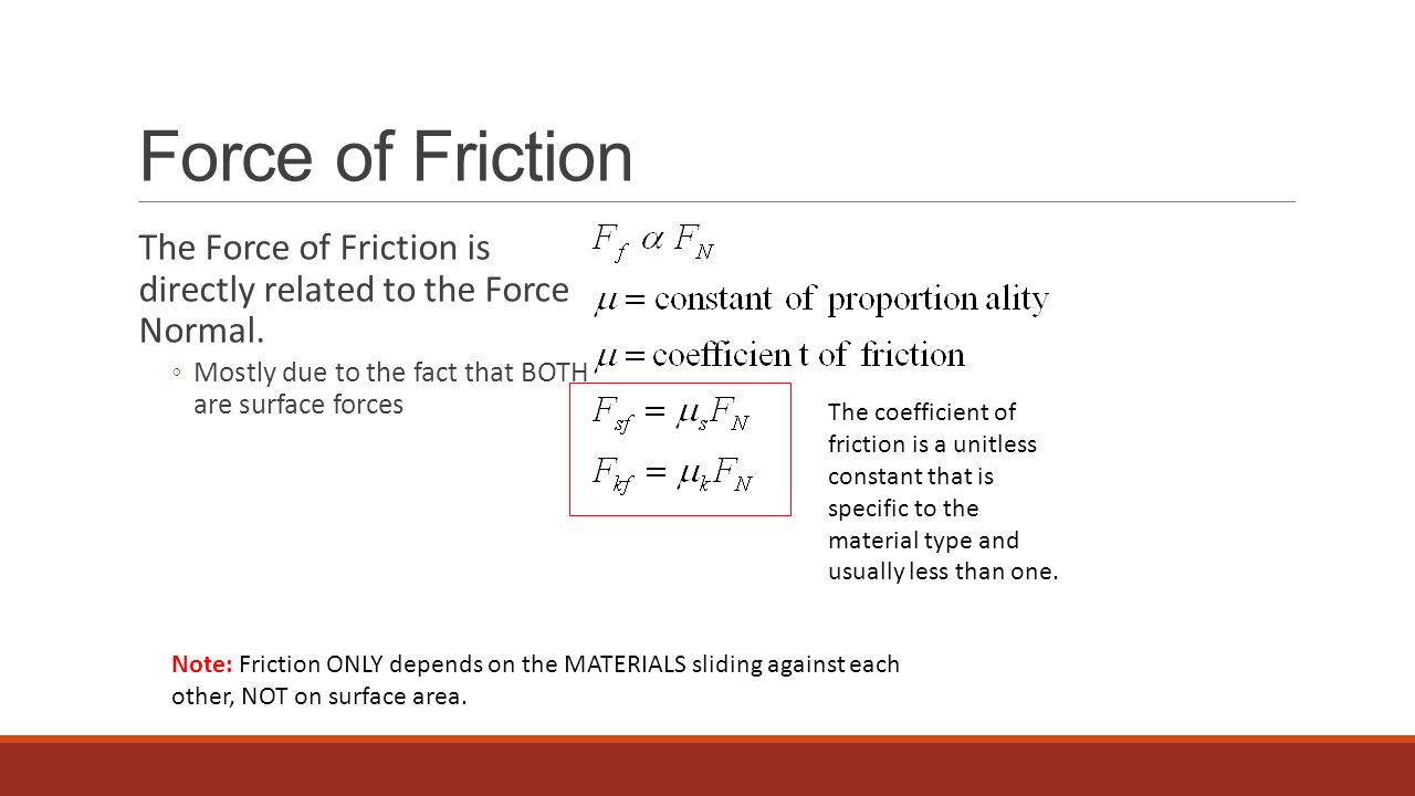 Force of Friction The Force of Friction is directly related to the Force Normal. Mostly due to the fact that BOTH are surface forces.