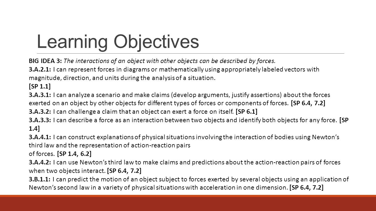 Learning Objectives BIG IDEA 3: The interactions of an object with other objects can be described by forces.