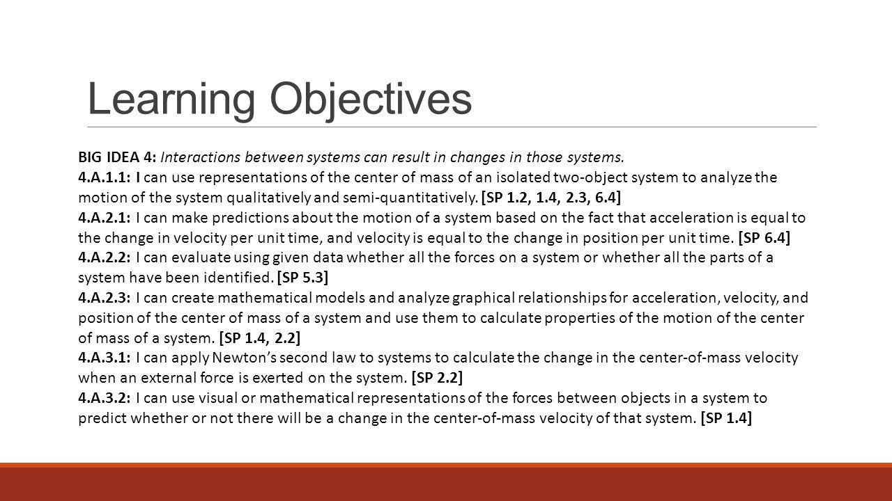 Learning Objectives BIG IDEA 4: Interactions between systems can result in changes in those systems.