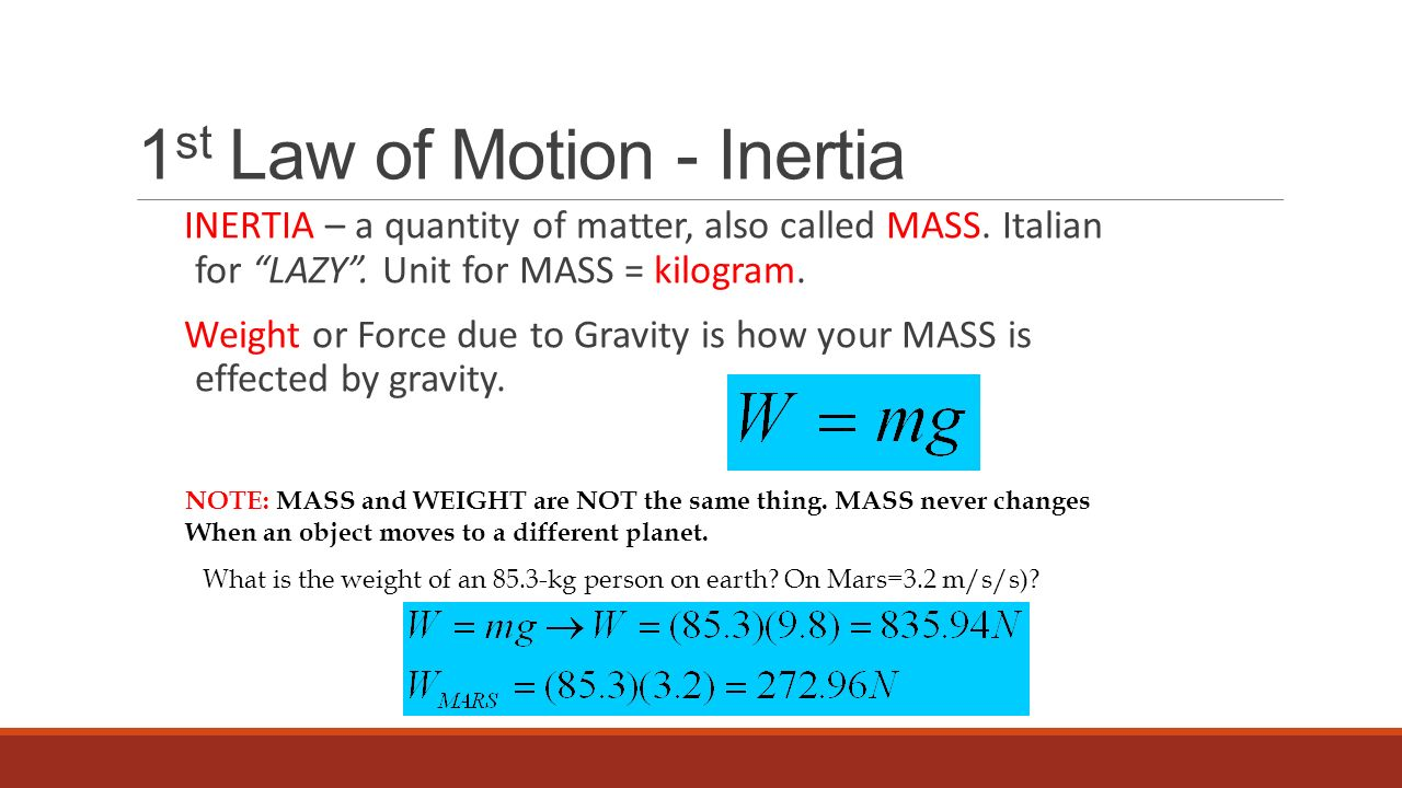 1st Law of Motion - Inertia