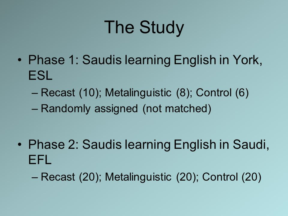 The Study Phase 1: Saudis learning English in York, ESL