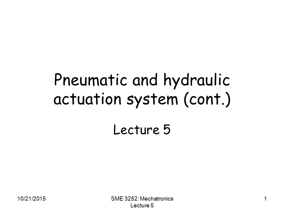 pneumatic and hydraulic actuation system  cont