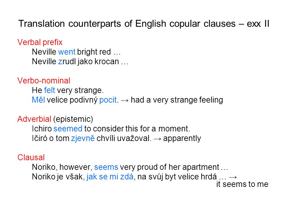 Translation counterparts of English copular clauses – exx II