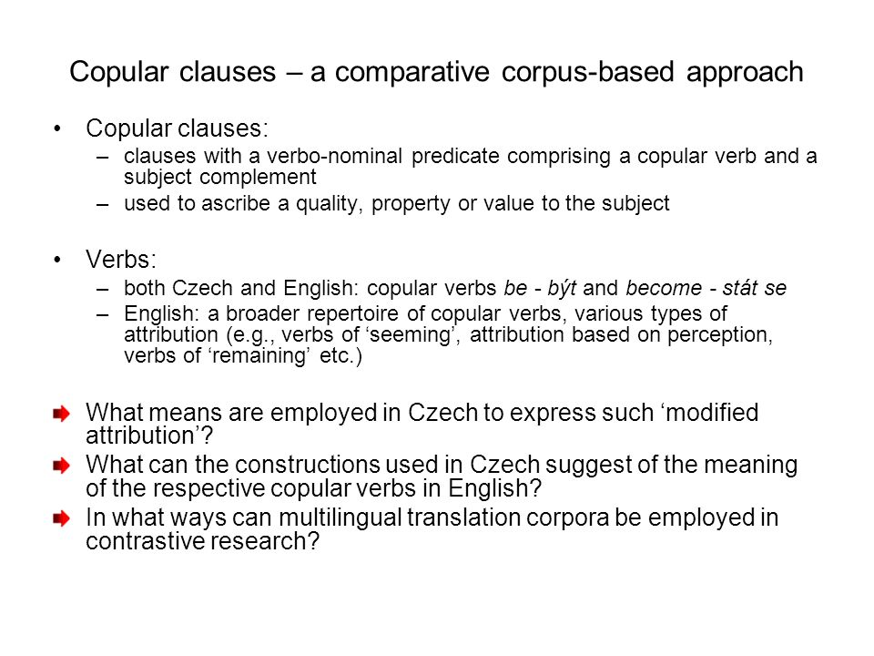 Copular clauses – a comparative corpus-based approach