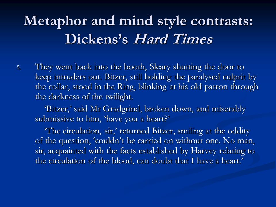 Metaphor and mind style contrasts: Dickens's Hard Times