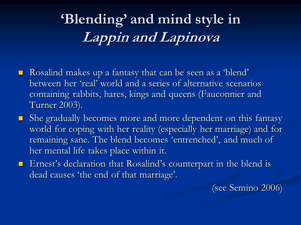 'Blending' and mind style in Lappin and Lapinova