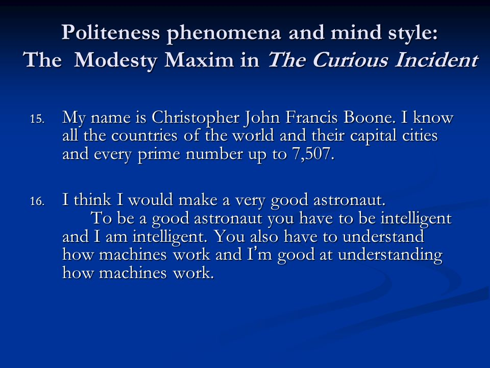 Politeness phenomena and mind style: The Modesty Maxim in The Curious Incident