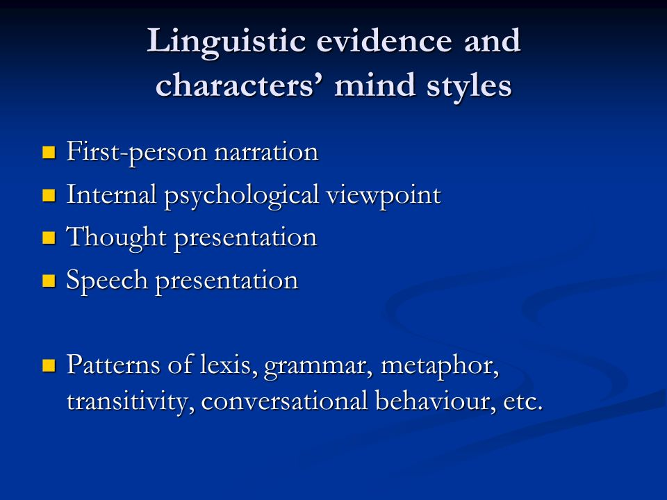 Linguistic evidence and characters' mind styles