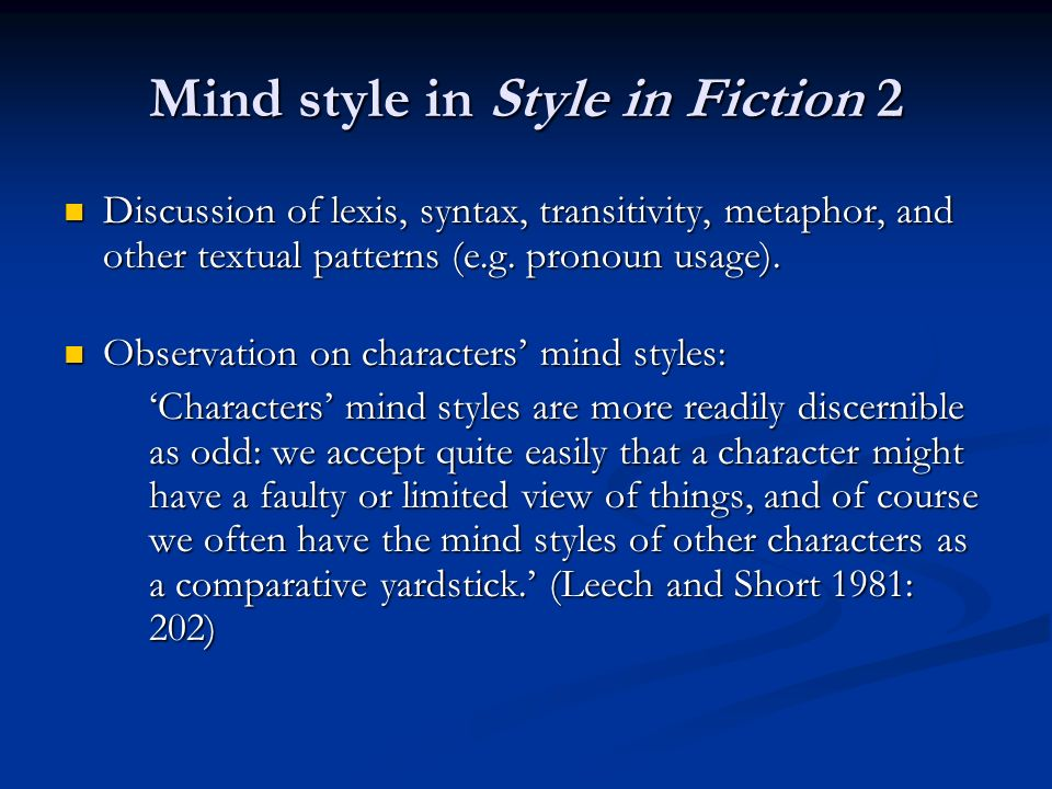 Mind style in Style in Fiction 2