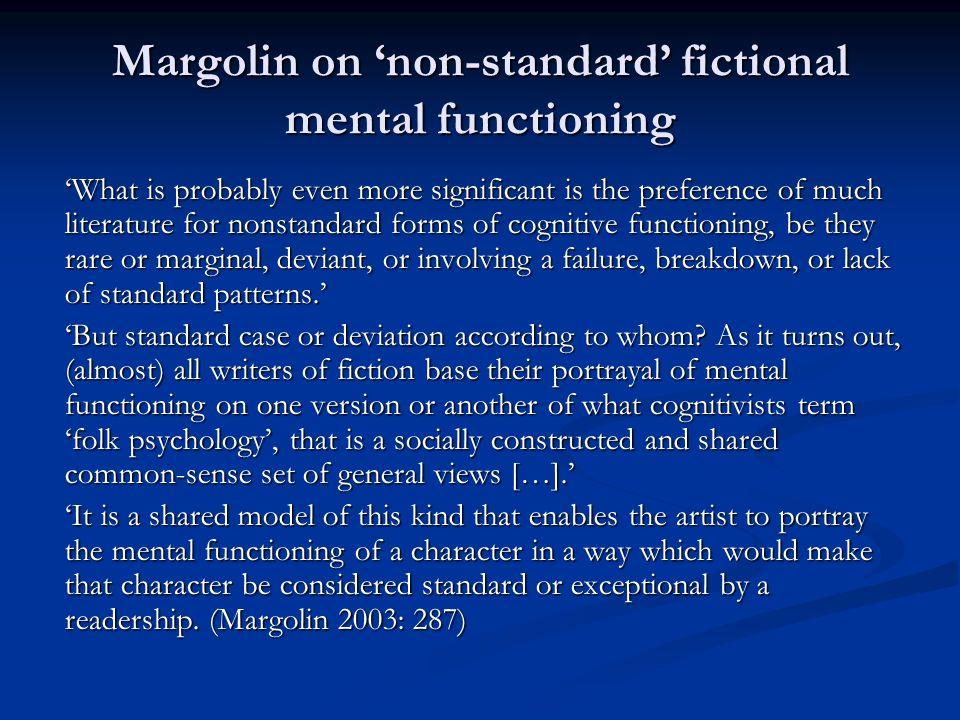 Margolin on 'non-standard' fictional mental functioning