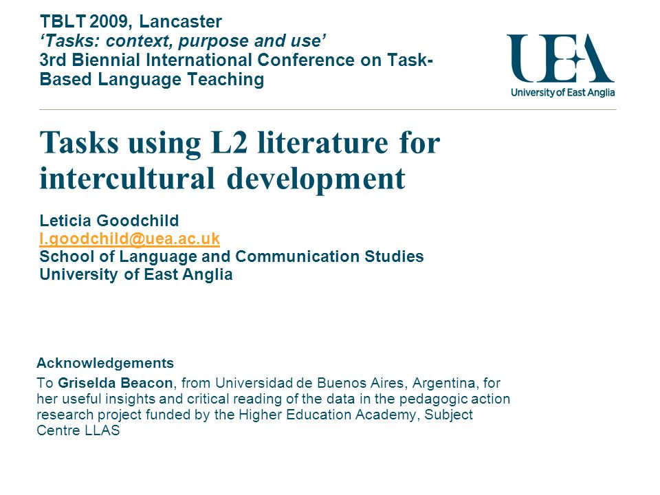 Tasks using L2 literature for intercultural development