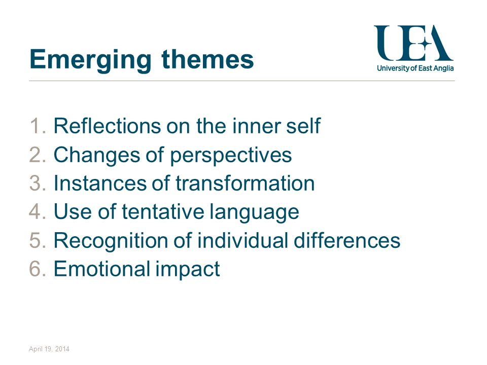 Emerging themes Reflections on the inner self Changes of perspectives