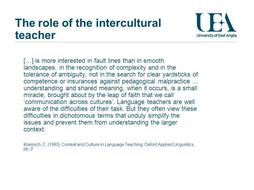 The role of the intercultural teacher