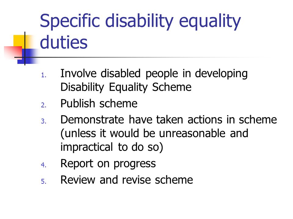 Specific disability equality duties