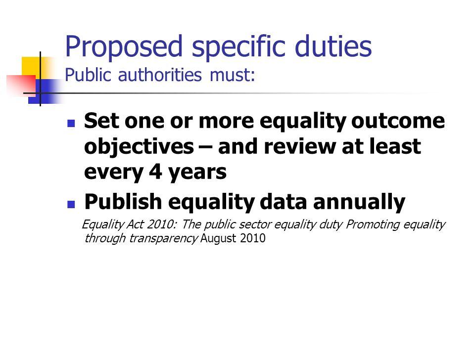 Proposed specific duties Public authorities must: