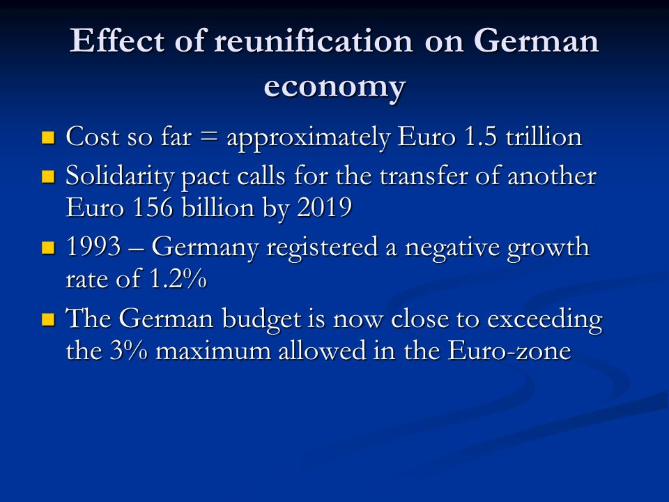 Effect of reunification on German economy