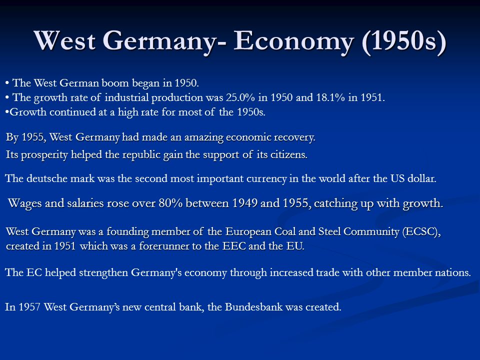 West Germany- Economy (1950s)