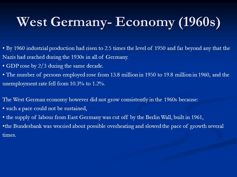 West Germany- Economy (1960s)