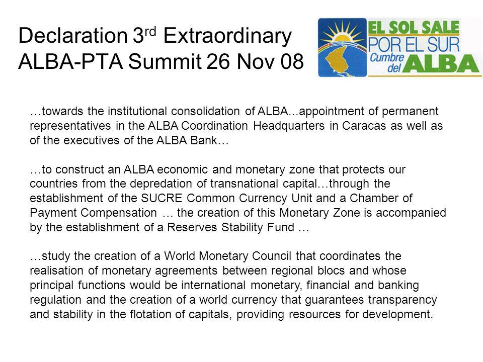 Declaration 3rd Extraordinary ALBA-PTA Summit 26 Nov 08