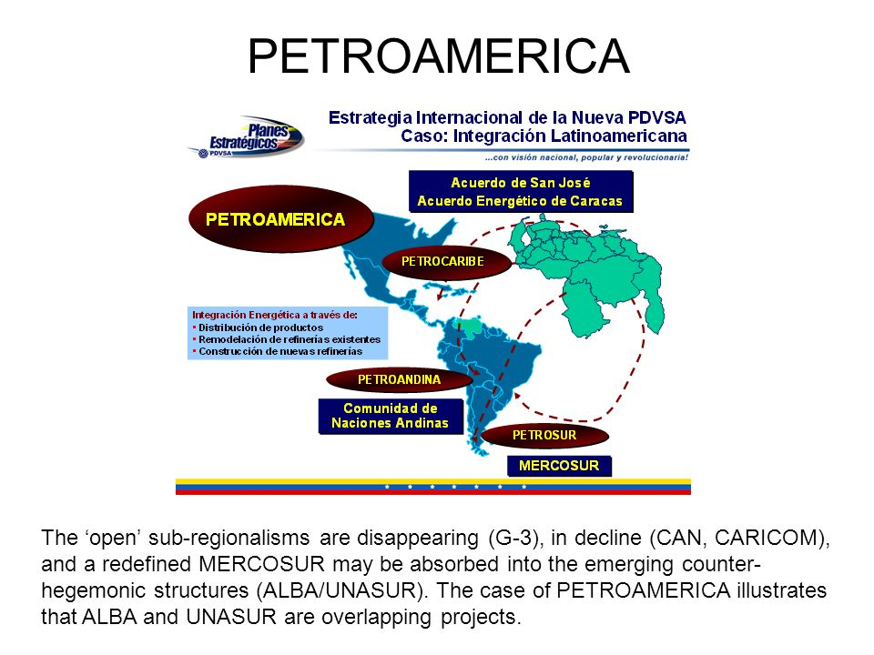 PETROAMERICA The 'open' sub-regionalisms are disappearing (G-3), in decline (CAN, CARICOM),