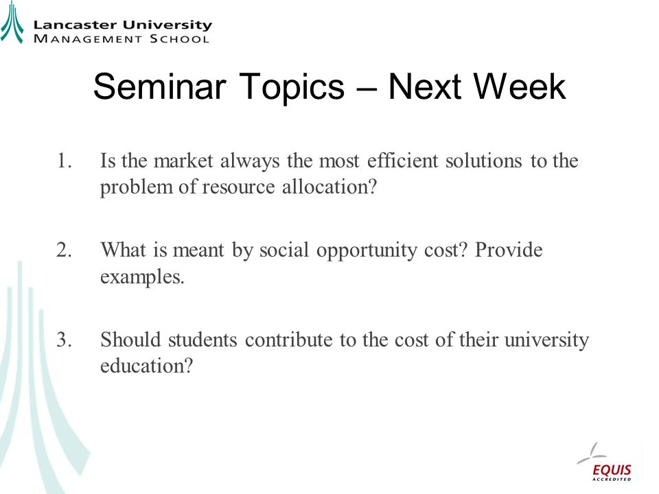 Seminar Topics – Next Week