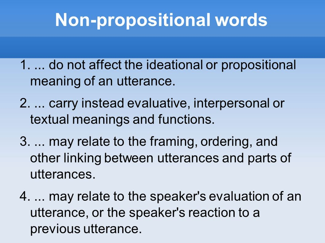 Non-propositional words