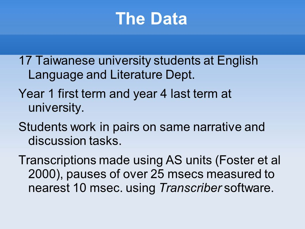 The Data 17 Taiwanese university students at English Language and Literature Dept. Year 1 first term and year 4 last term at university.