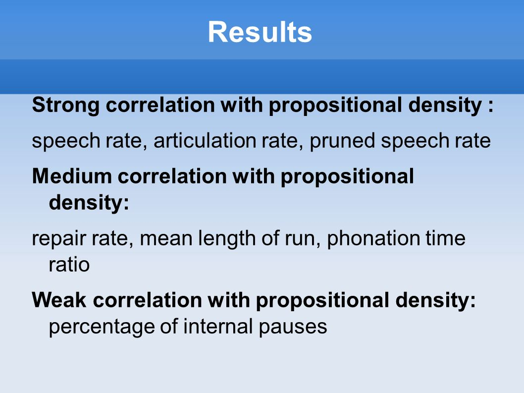 Results Strong correlation with propositional density :