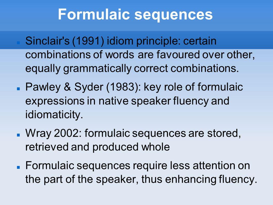 Formulaic sequences