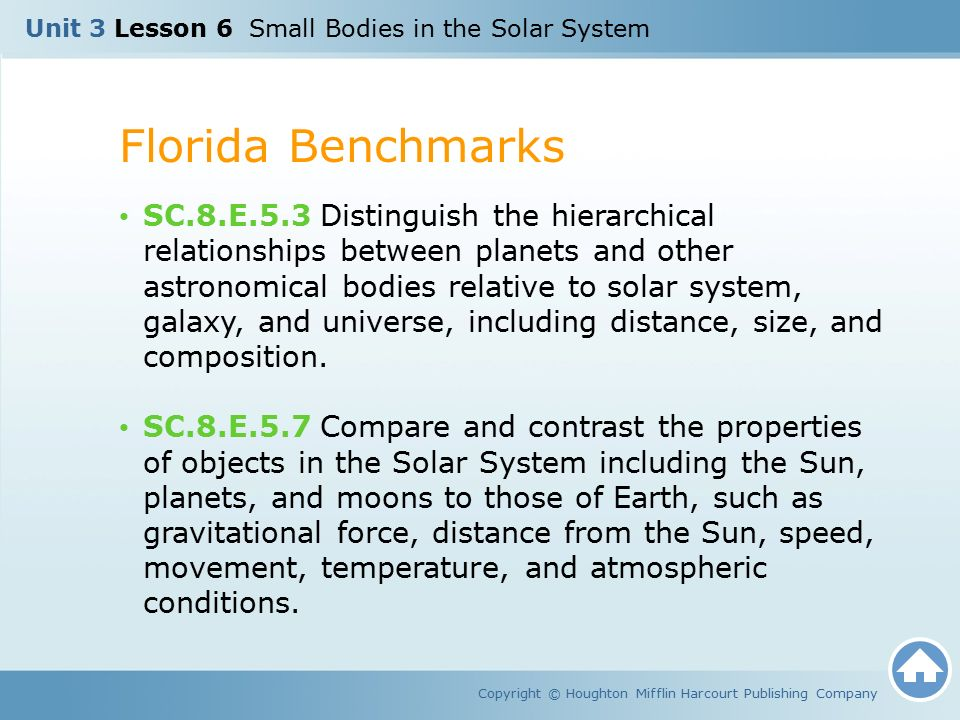 Unit 3 Lesson 6 Small Bodies in the Solar System